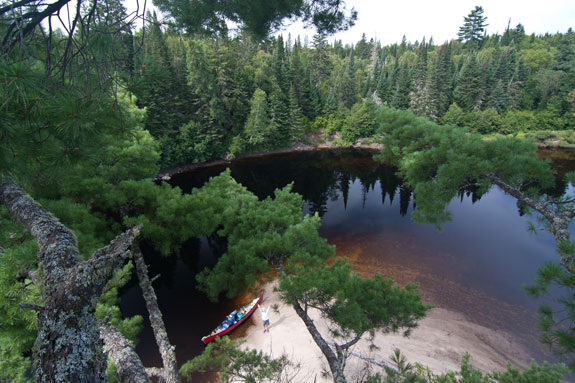 Bird's eye view of Coulonge River near Réserve faunique La Vérendrye, Quebec