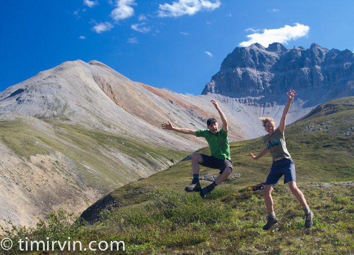 Jumping for joy on the side of a mountain in the Yukon