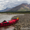 canoe equiped with spray deck, snake river, Yukon